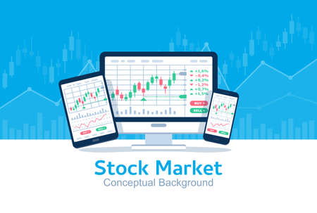 Stocks market graph chart on computer screen, tablet and phone. Technical analysis candlestick chart. Global stock exchanges index. Forex trading concept. Trading strategy. Vector illustration