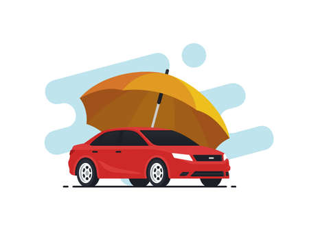 Car insurance concept. Umbrella that protects automobile. Insurance policy. Vector illustration in flat style.