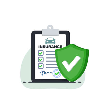Insurance policy concept.Document report with shield. Vector illustration in flat srtyle.