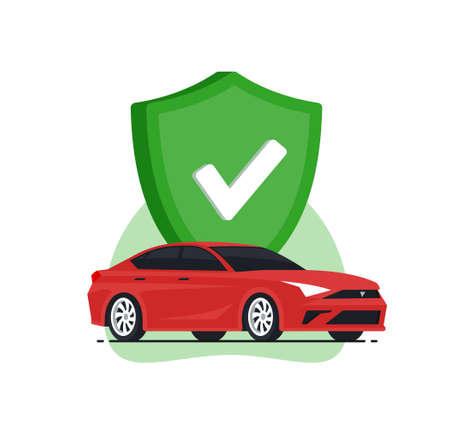 Auto safetyconcept. Car insurance. Red car with green shield. Vector illustration in flat style.