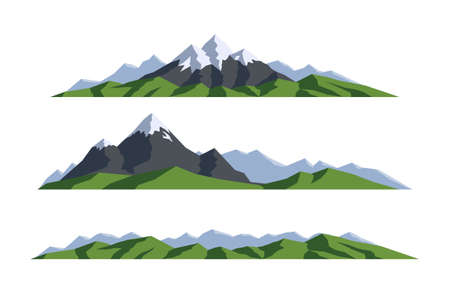 Mountain landscape. Collection isolated vector illustration. Silhouette rocks. Panoramic view on white background. Can be used for climbing, expedition, camping, adventures in nature and so on.