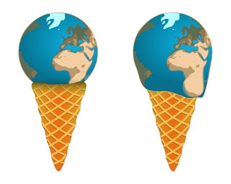 resfriado comun: Helado mundial en la forma de la Tierra, la fusi�n, dulce