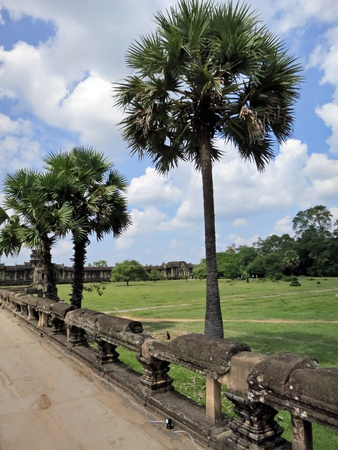 The ancient park of Angkor Wat temple complex photo