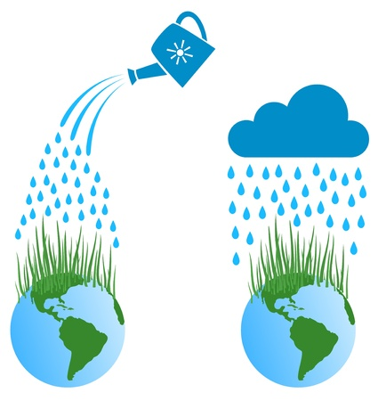 Water falls to the earth and the grass grows Vector