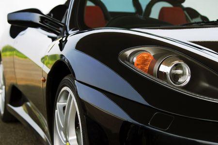 black supercar close up