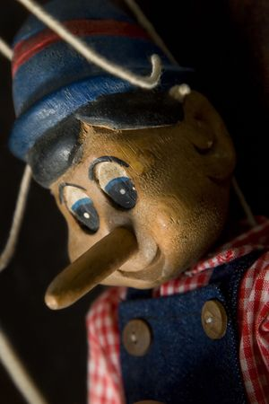 single story: close up of famous character pinocchio from side Stock Photo