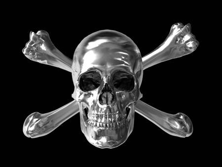 hazardous metals: poison toxic symbol with chrome texture horizontal format 3d Stock Photo