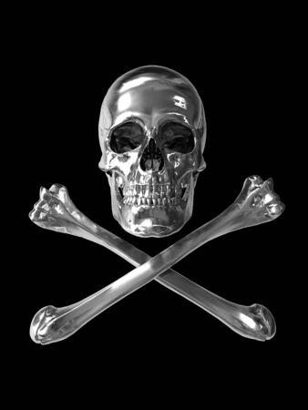 poison toxic symbol with chrome texture 3d Stock Photo