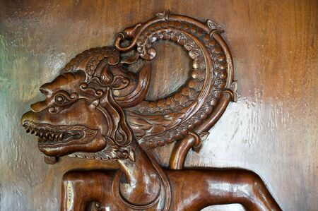 kulit: bas relief of asian wayang Stock Photo