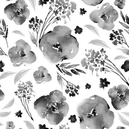 Abstract black and white watercolor floral seamless pattern in a la prima style, flowers, twigs, leaves, buds. Hand painted vintage floral illustration