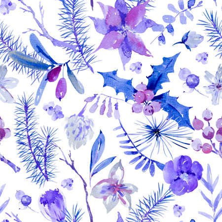 Winter blue floral watercolor Christmas seamless pattern with tree branches, holly, flowers and berries. Natural hand painted illustration on white background, New Year decoration 스톡 콘텐츠
