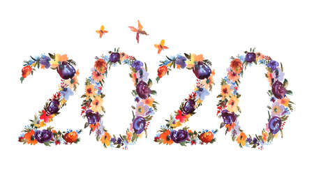 2020 hand written watercolor flowers. Christmas Floral Bouquet Composition Made of Numbers. Concept design for Happy New Year