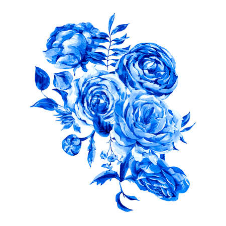 Blue  Vintage Floral Greeting Card,  Bouquet of Roses, Ranunculus and Wildflowers, Botanical Natural Illustration Isolated on White Background Stockfoto