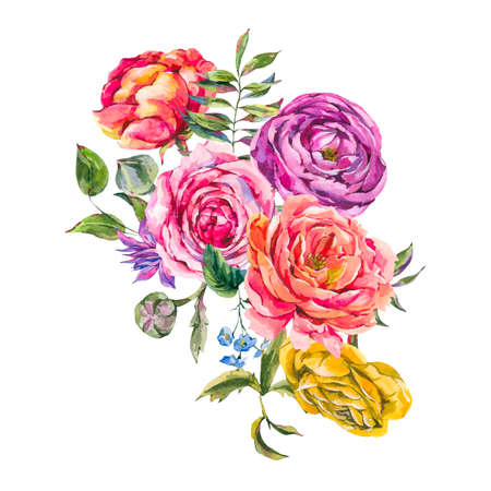 Roses  Vintage Floral Greeting Card,  Bouquet of Red Roses, Ranunculus and Wildflowers, Botanical Natural Illustration Isolated on White Background
