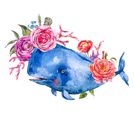 Watercolor blue whale with rose, anemones, summer flowers, red coral. Nautical greeting card, sea animal isolated on white background, underwater clipart