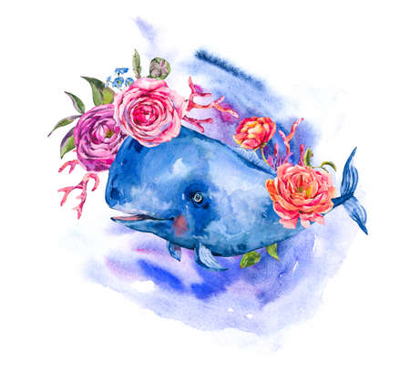 Blue whale with rose, anemones, summer flowers, red coral. Watercolor Nautical greeting card, sea animal isolated on white background, underwater clipart