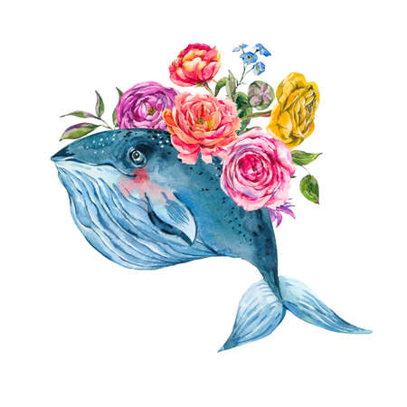 Blue whale watercolor with rose, anemones, summer flowers. Nautical greeting card, sea animal isolated on white background, underwater clipart