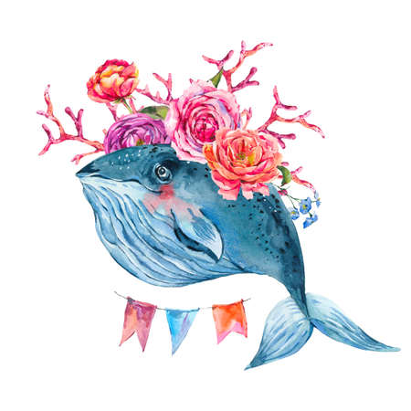 Blue whale watercolor with rose, anemones, summer flowers, red coral, colorful garland. Nautical greeting card, sea animal isolated on white background, underwater clipart