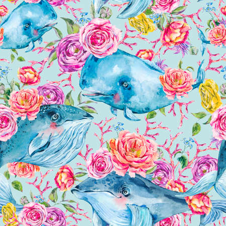 Blue whale watercolor seamless pattern with rose, anemones, summer flowers. Nautical digital paper, sea animal texture on blue background, underwater clipart Stock Photo