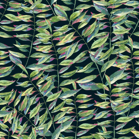 Watercolor seamless pattern with green exotic leaves. Natural tropical endless texture, greenery botanical illustration on black background