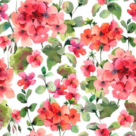 Flower Geranium Seamess Pattern, Pelargonium Texture, Red Flowers, Natural Summer IIllustration on White Background Stock Photo
