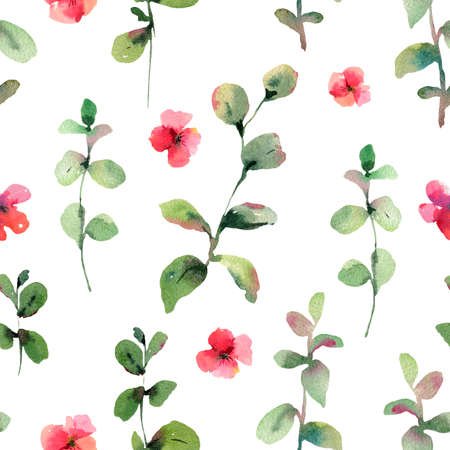 Vintage  green leaves and red flowers seamless pattern, natural texture, spring summer greeting card