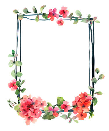 Flower Geranium, Pelargonium, Red Flowers, Natural Isolated Illustration, Spring Summer Greeting Card, Wedding Invitation, Vertical Frame Stock Photo
