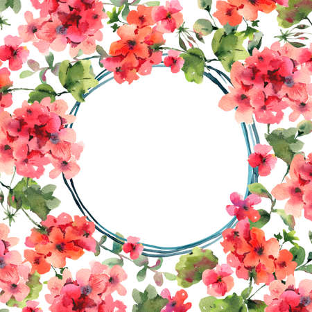 Flower Geranium, Pelargonium, Red Flowers, Natural Isolated Illustration, Spring Summer Greeting Card, Wedding Invitation, Round Frame