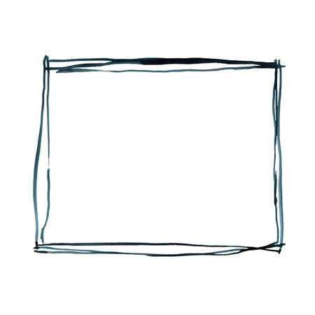 geometric frame isolated on white background. Hand drawn design elements collection, invitation objects clipart. Stock fotó