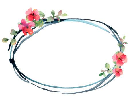 Flower Geranium, Pelargonium, Red Flowers, Natural Isolated Illustration, Spring Summer Greeting Card, Wedding Invitation, Round Frame