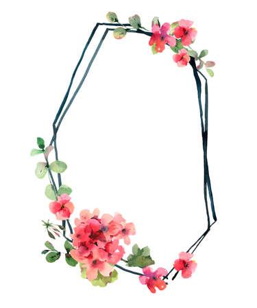 Flower Geranium, Pelargonium, Red Flowers, Natural Isolated Illustration, Spring Summer Greeting Card, Wedding Invitation, Polygonal Frame