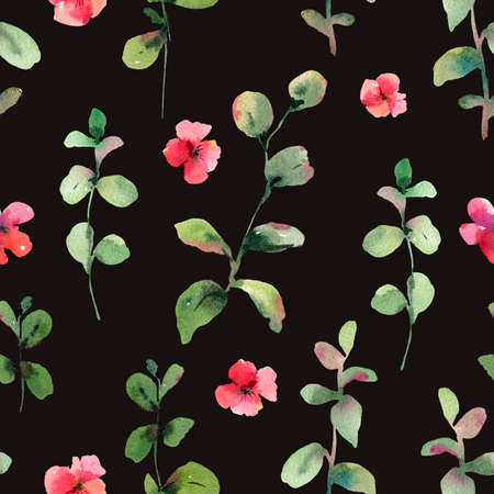 Vintage  green leaves and red flowers seamless pattern, natural texture, spring summer background