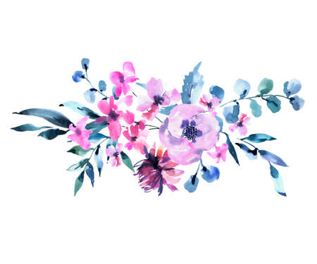 Watercolor Vintage lilac Turquoise Flowers, Wildflowers. Natural Pink Floral Objects isolated on White Background. Wedding Decor Dusty Blue Greeting Card. 스톡 콘텐츠