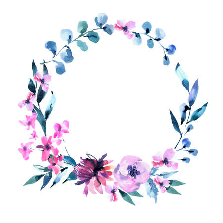 Watercolor Vintage lilac Turquoise Flowers, Wildflowers Wreath. Natural Pink Floral Objects isolated on White Background. Wedding Decor Dusty Blue Round Frame