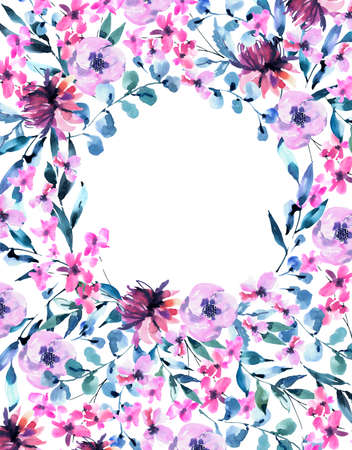 Watercolor Vintage lilac Turquoise Flowers, Wildflowers Round Frame. Natural Pink Floral Objects isolated on White Background. Wedding Decor Dusty Blue Greeting Card.