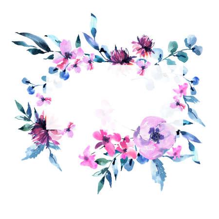 Aquarell Vintage lila Türkis Blumen, Wildblumen Rahmen. Natürliche rosa Blumenobjekte isoliert auf weißem Hintergrund. Hochzeits-Dekor-staubige blaue Grußkarte. Standard-Bild