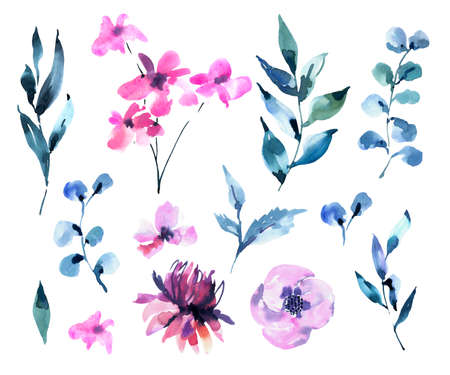 Set of Watercolor Vintage Magenta Flowers, Wildflowers. Natural Pink Floral Objects isolated on White Background. Wedding Decor Dusty Blue Design Elements. 스톡 콘텐츠