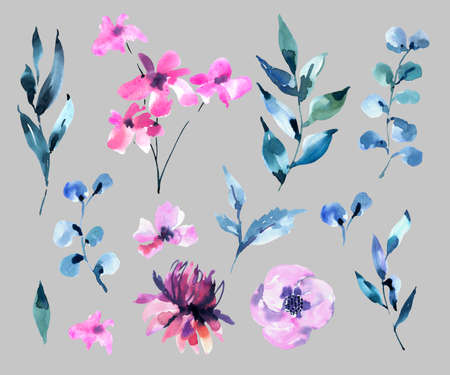 Set of Watercolor Vintage lilac Turquoise Flowers, Wildflowers. Natural Pink Floral Objects isolated on White Background. Wedding Decor Dusty Blue Design Elements.