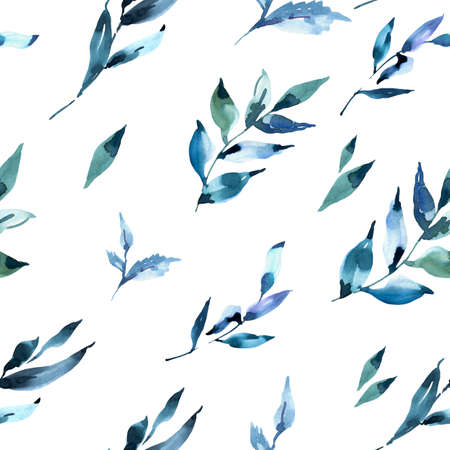 Watercolor deep blue leaves seamless pattern. Natural tropical endless texture, greenery botanical illustration on white background