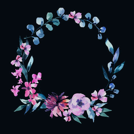 Watercolor Vintage lilac Turquoise Flowers, Wildflowers Wreath. Natural Pink Floral Objects isolated on Black Background. Wedding Decor Dusty Blue Round Frame