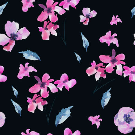 Watercolor Seamless Pattern of Vintage Tiny Magenta Flowers, Wildflowers. Natural Pink Floral Texture on Black Background. Wedding Decor. 스톡 콘텐츠