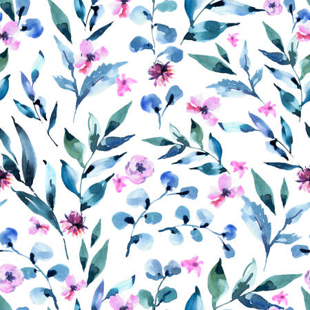 Watercolor Seamless Pattern of Vintage Tiny lilac Turquoise Flowers, Wildflowers. Natural Pink Floral Texture on White Background. Wedding Decor. 스톡 콘텐츠