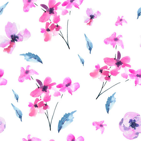 Watercolor Seamless Pattern of Vintage Tiny Magenta Flowers, Wildflowers. Natural Pink Floral Texture on White Background. Wedding Decor.