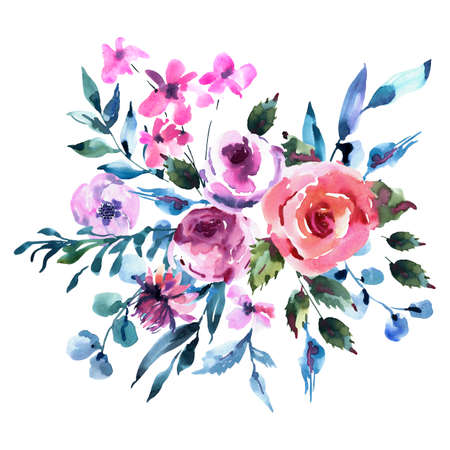 Summer Watercolor Floral Greeting Card, Wedding bouquet, Pink Watercolor Roses, Wildflowers, Twigs, Leaves, Buds. Vintage Floral Illustration Isolated on White Background. Natural Frame 스톡 콘텐츠