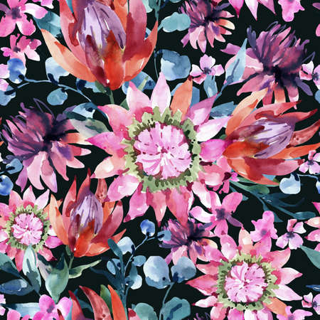 Tropical watercolor protea flowers seamless pattern. Exotic pink bouquet, eucalyptus, twigs and leaves. Botanical classic texture on black background