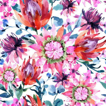 Tropical watercolor protea flowers seamless pattern. Exotic pink bouquet, eucalyptus, twigs and leaves. Botanical classic texture on white background Imagens