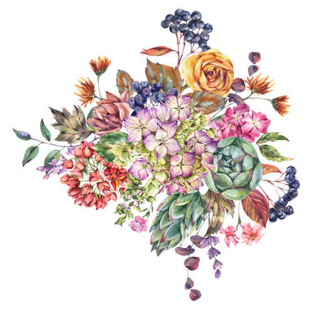 Watercolor vintage bouquet with hydrangeas, wildflowers, autumn leaves, blue berries, lavender. Natural botanical floral greeting card isolated on white background, Summer Flowers Stock Photo
