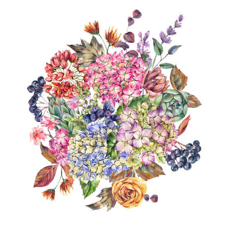 Huge watercolor bouquet with hydrangeas, wildflowers, autumn leaves, blue berries, lavender. Natural botanical floral greeting card isolated on white background, Summer Flowers