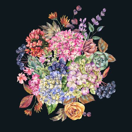 Huge watercolor bouquet with hydrangeas, wildflowers, autumn leaves, blue berries, lavender. Natural botanical floral greeting card isolated on black background, Summer Flowers