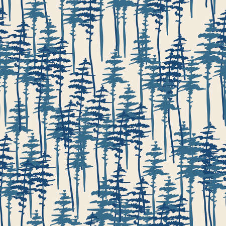 Forest seamless pattern, nature, landscape. Evergreen coniferous trees. pine, spruce background